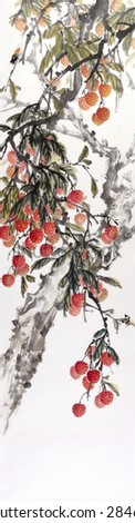 Lychee tree.(Fruitful).Traditional Chinese Painting. - stock photo