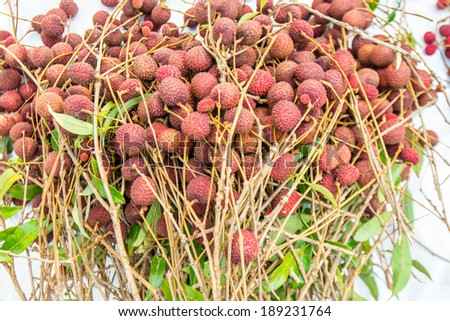 Lychees fruits ready for sell - stock photo