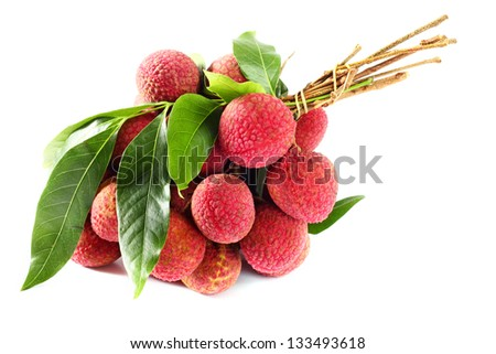 Lychees on white background - stock photo