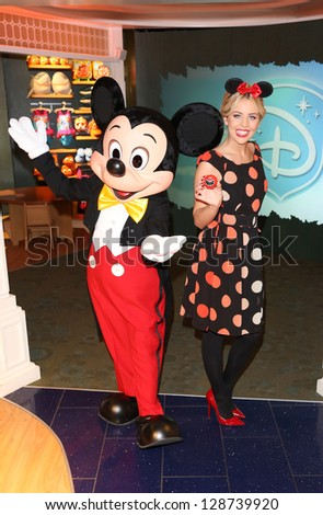 Lydia Bright aka Lydia Rose Bright at Volunt-ears with Mickey Mouse at Disney Store for Red Nose day, London. 14/02/2013 Picture by: Henry Harris - stock photo