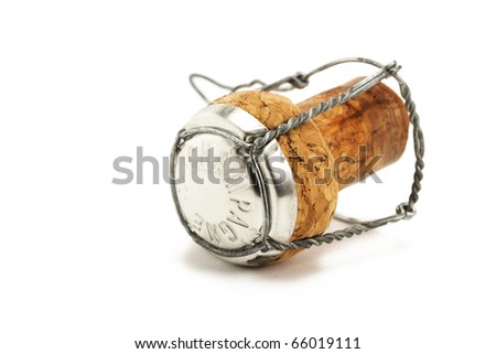 lying cork from a champagne bottle on white background - stock photo