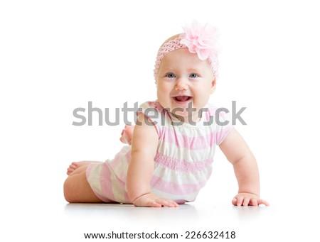 lying happy baby girl isolated on white background - stock photo