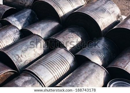 lying metals cans - stock photo