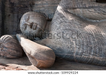 Lying reclining Buddha, Gal Vihara, Polonnaruwa, Sri Lanka - stock photo