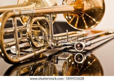 Lying trombone closeup - stock photo