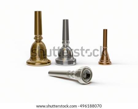 Lying trumpet mouthpiece in front of other brass instrument mouthpieces (3D rendering)