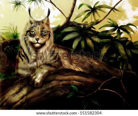 Lynx Painting - stock photo