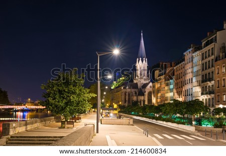 Lyon by night, France - stock photo