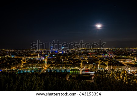 Lyon city panorama by night a day of full moon, great !