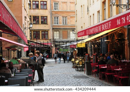 Lyon, France - april 13 2016: restaurant in the saint Jean district in the old historical Lyon
