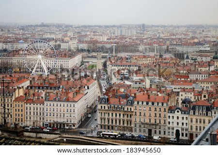 Lyon, France. Bellecour square, traditional buildings and river. Aerial and panoramic view.  - stock photo