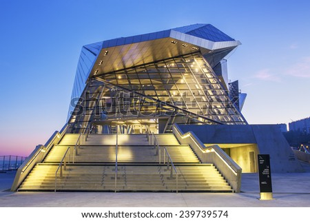 LYON, FRANCE, DECEMBER 22, 2014 : Musee des Confluences. Musee des Confluences is located at the confluence of the Rhone and the Saone rivers. - stock photo