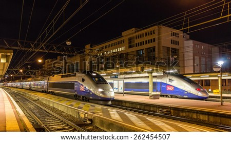 LYON, FRANCE - JANUARY 07: SNCF TGV Duplex trains on January 7, 2014 at Lyon Part-Dieu railway station. TGV trains carried more than 2 billion passengers since startup