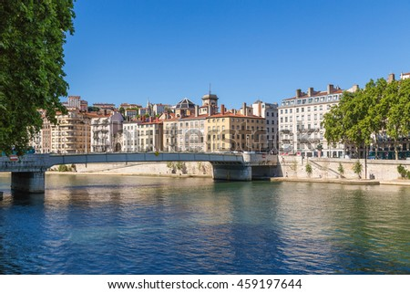 LYON, FRANCE - JUL 22, 2015: Scenic view of the Saone River