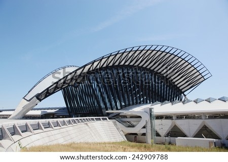 Lyon, France- June 21, 2014 Railway station connected to Saint Exupery airport in Lyon - stock photo