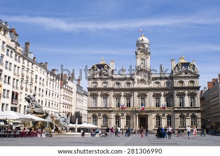 LYON, FRANCE - 22 May 2015: The Town-Hall of Lyon. Berlin on May 22, 2015. Lyon, France