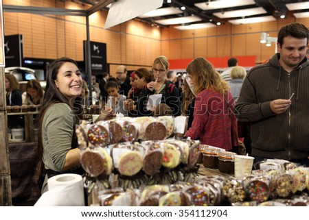 Lyon, France. November 8, 2015. Details of the fifth edition of the salon du chocolat in Lyon. Many chocolatiers, chefs, pastry chefs and young talents celebrated chocolate and cocoa in all its forms.