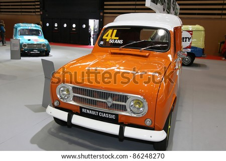 "LYON, FRANCE, OCT 9 - The show ""Salon de l'Automobile"" opens its doors from october 8 to October 16 in Eurexpo Halls, an celebrates the 50 years of Renault 4L, in Lyon, on October, 9, 2011"