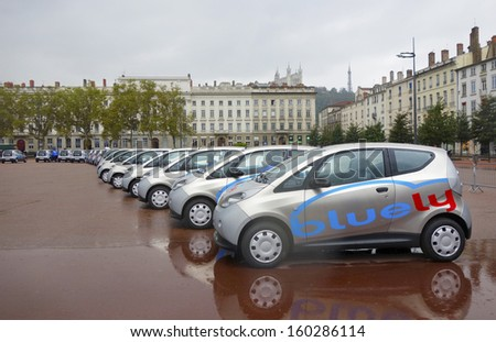 LYON, FRANCE - OCTOBER 10: Bluely electrical cars in Lyon on October 10, 2013. Bluely is the first full electric and open-access car sharing service in Lyon introduced to public in October 2013 - stock photo