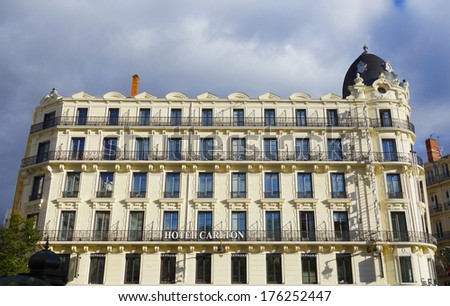 LYON, FRANCE - OCTOBER 10:Hotel Carlton in Lyon on October 10, 2013. Lyon is known for its historical and architectural landmarks and is a UNESCO World Heritage Site