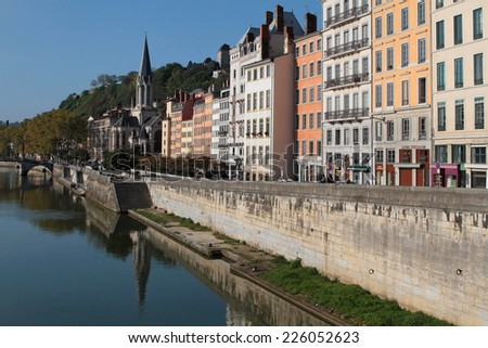 LYON, FRANCE, OCTOBER 26, 2014 : Saone river and Saint-Georges church in Lyon city center. Together with its suburbs, Lyon forms the 2nd-largest metropolitan area in France with two millions people.