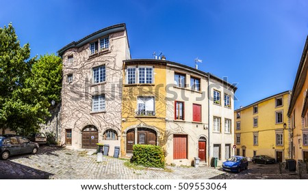LYON, FRANCE - SEP 2, 2016: old colorful painted houses at the hilly old town in Lyon - they are tourist attractions.