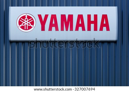 Lyon, France - September 20, 2015: Yamaha is a Japanese multinational corporation based in Japan with a very wide range of products and services like musical instruments, electronics, motorcycles.