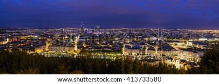 Lyon panorama at night. Lyon, Rhone-Alpes, France. - stock photo