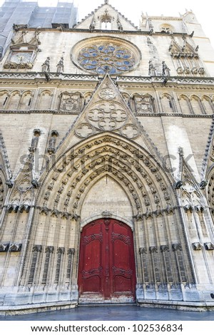 Lyon (Rhone-Alpes, France) - Facade of the Cathedral in gothic style - stock photo