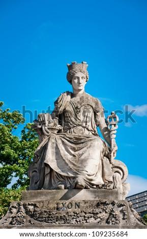 Lyon, Statue created by Jacob Ignaz Hittorff, Place de la Concorde, Paris, France - stock photo