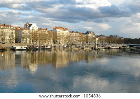 Lyon, the bank of the Rhone (France) - stock photo