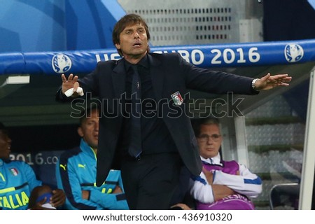 LYONE- FRANCE, J UNE 2016 :   Antonio Conte in action during football match  of Euro 2016  in France between Belgium vs Italy at the 