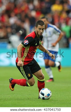 LYONE- FRANCE, J UNE 2016 : Hazard  in action during football match  of Euro 2016  in France between Belgium vs Italy at the 