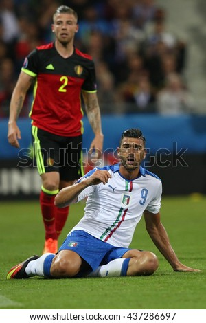 LYONE- FRANCE, JUNE 2016 : Pelle  in action during football match  of Euro 2016  in France between Belgium vs Italy at the  Grand Stade Olympique Lyonnais on June 13, 2016 in Lyone.
