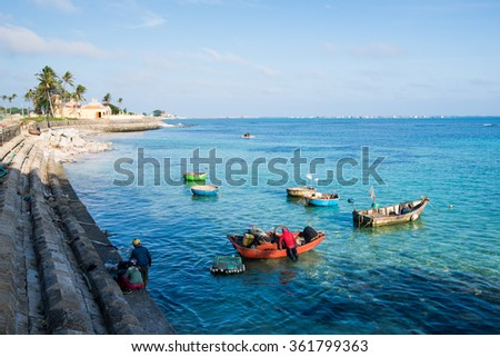 LYSON, VIETNAM - JANUARY 4, 2016: Beautiful seascape in Ly Son island in Quang Ngai, Vietnam.