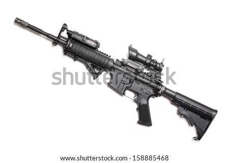 """M4A1 (AR-15) 14,5"""" carbine with ACOG sniper sight, AN/PEQ15 and AFG tactical grip. Isolated on white. Studio shot. - stock photo"""