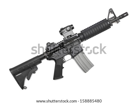 M4A1 CQBR, Mk18 Mod.0 tactical carbine with micro (red dot) sight. Isolated on white - stock photo