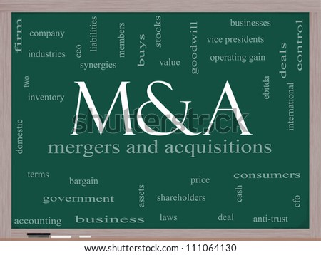 M & A (Mergers and Acquisitions) Word Cloud Concept on a Blackboard with great terms such as deals, ebitda, ceo, shareholders and more. - stock photo