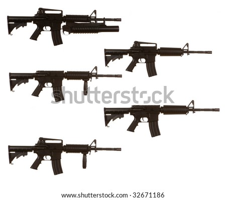 M4 Assault Rifle Variants on a white background