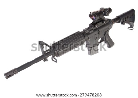 M4 carbine  isolated on a white background - stock photo