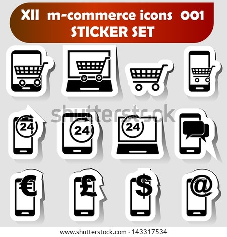 m-commerce sticker set icons 001 with mobile devices as there are smartphones, laptops and tablet pc's as well known as pad