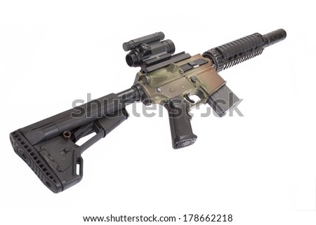 M4 CQB rifle isolated on a white background - stock photo