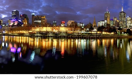 M.elbourne at night reflected in the yarra river - stock photo