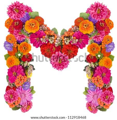 M, flower alphabet isolated on white - stock photo