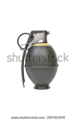 M26 FRAG model, weapon army,standard timed fuze hand grenade on white background - stock photo