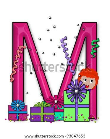"""M, in the alphabet set """"Birthday Letters"""", is surrounded by colorfully wrapped presents complete with bows.  Woman hides behind presents and peeks out pretending surprise. - stock photo"""