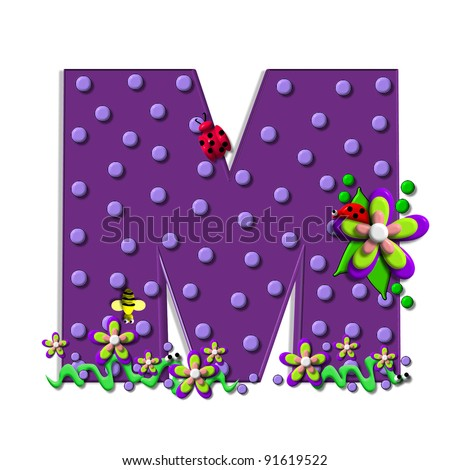 """M, in the alphabet set """"Buzzing Garden"""", is decorated with three dimensional polka dots and a three layer flower.  Purple letters are decorated with lady bugs, snakes and bees. - stock photo"""