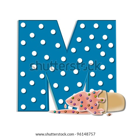 M, in the alphabet set Creamy Treat, is aqua with white polka dots.  Melting ice cream cone sits at base of letter.  Frozen treat has colorful sprinkles.