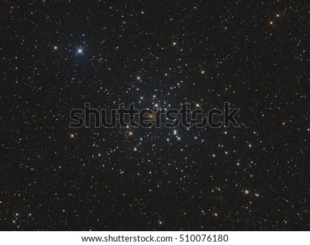 M41 is an open star cluster in Canis Major. It may have been discovered by Aristotle as early as 325 BC.