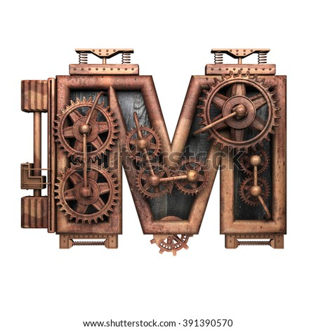 m isolated rusted letter with gears on white